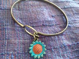 NEW bangle bracelet w Sunflower Charm choice of color USA made image 9