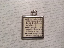 Nativity Charm Present Tie On Versatile Reversible Tag Metal Glass Tag image 2