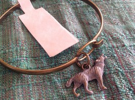 NEW bangle bracelet with Wolf Charm choice of color USA made  image 7