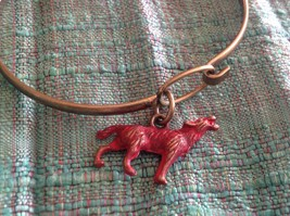 NEW bangle bracelet with Wolf Charm choice of color USA made  image 8