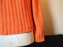 Nautica Carrot Orange Button Down Open Front Knitted Design Sweater Size Large image 7