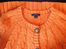 Nautica Carrot Orange Button Down Open Front Knitted Design Sweater Size Large image 9