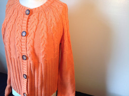 Nautica Carrot Orange Button Down Open Front Knitted Design Sweater Size Large image 5