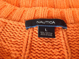 Nautica Carrot Orange Button Down Open Front Knitted Design Sweater Size Large image 10
