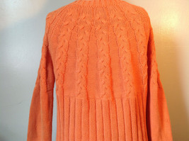 Nautica Carrot Orange Button Down Open Front Knitted Design Sweater Size Large image 8