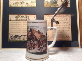 Porcelain German Stein with Metal Lid Party Scene Painted on Front image 6