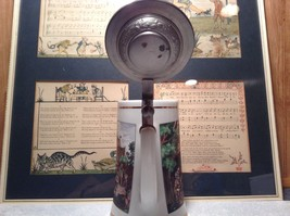 Porcelain German Stein with Metal Lid Party Scene Painted on Front image 7