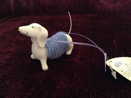 Porcelain Dachshund Figurine Cloth Shirt Wire Tail Different Colors Available image 3