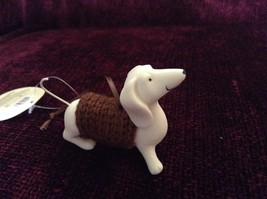 Porcelain Dachshund Figurine Cloth Shirt Wire Tail Different Colors Available image 4