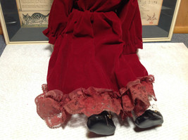 Porcelain Girl Doll with Hat and Red Dress Collectible Intricate image 3