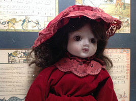 Porcelain Girl Doll with Hat and Red Dress Collectible Intricate image 5