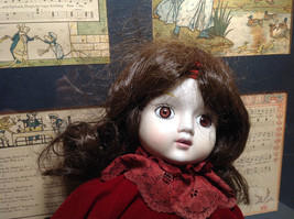 Porcelain Girl Doll with Hat and Red Dress Collectible Intricate image 6