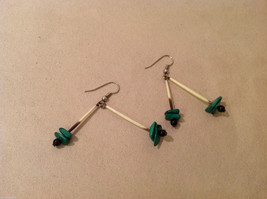 Porcupine Quill Malachite and Onyx  hand made dangle earrings image 2