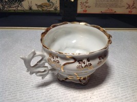 Porcelain White Tea Cup with Gold Tone Accents Intricate Rim and Handle image 5