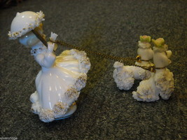 Porcelain Parisienne with parasol and 2 poodles image 3