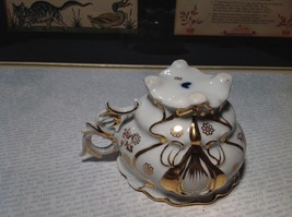 Porcelain White Tea Cup with Gold Tone Accents Intricate Rim and Handle image 7
