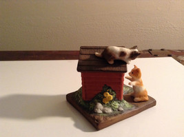 Porcelain Kittens Playing on Doghouse Figurine Display Piece image 2