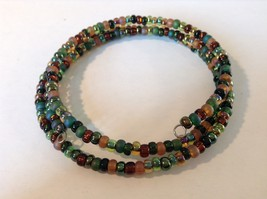 Pretty Multicolored Beaded Coil Bracelet Adjustable image 4