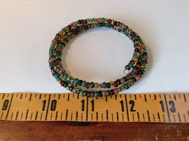 Pretty Multicolored Beaded Coil Bracelet Adjustable image 5