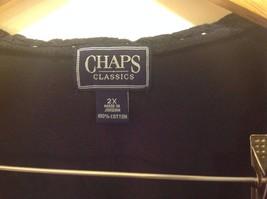 Navy Blue Chaps Classics V-Neck Open Women Shirt Size 2X Cotton image 6