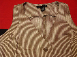 Pretty Larry Levine Ladies Brown Cream Colored Vest Size Large image 6