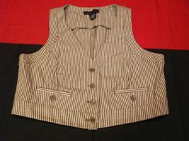 Pretty Larry Levine Ladies Brown Cream Colored Vest Size Large image 2