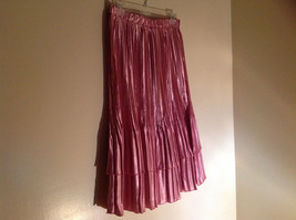 Pretty Pink Calf Length Pleated Skirt Shiny Material by Magic Scarf Co. image 2