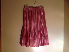 Pretty Pink Calf Length Pleated Skirt Shiny Material by Magic Scarf Co. image 6