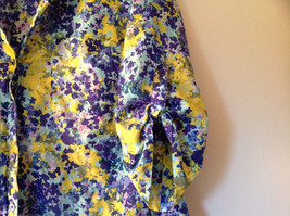 Navy Blue Yellow Floral Button Up Shirt by Ann Taylor V Neckline Collar Size 14 image 4