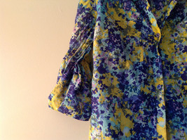 Navy Blue Yellow Floral Button Up Shirt by Ann Taylor V Neckline Collar Size 14 image 3