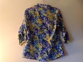 Navy Blue Yellow Floral Button Up Shirt by Ann Taylor V Neckline Collar Size 14 image 6