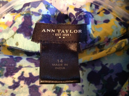 Navy Blue Yellow Floral Button Up Shirt by Ann Taylor V Neckline Collar Size 14 image 7