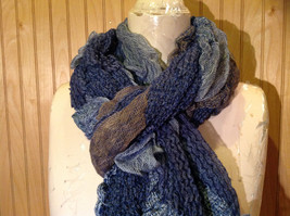 Navy Blue Tan Patchy Scrunched Style Scarf Wavy and Cinched Design NO TAGS image 3