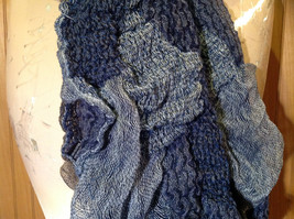 Navy Blue Tan Patchy Scrunched Style Scarf Wavy and Cinched Design NO TAGS image 4