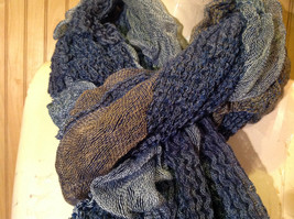 Navy Blue Tan Patchy Scrunched Style Scarf Wavy and Cinched Design NO TAGS image 5