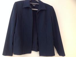 Navy Blue Pinstriped Pant Suit Rafaella Petites Jacket and Pants Size 4P image 4