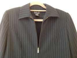 Navy Blue Pinstriped Pant Suit Rafaella Petites Jacket and Pants Size 4P image 2