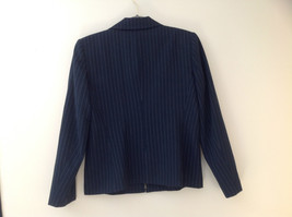 Navy Blue Pinstriped Pant Suit Rafaella Petites Jacket and Pants Size 4P image 5