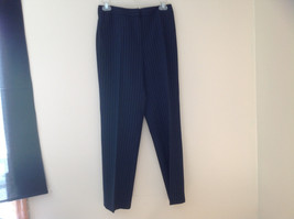 Navy Blue Pinstriped Pant Suit Rafaella Petites Jacket and Pants Size 4P image 8