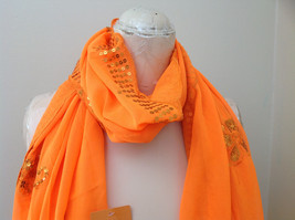 Neon Orange Sheer Scarf with Sequin Designs and Tassels Length 68 Inches image 3