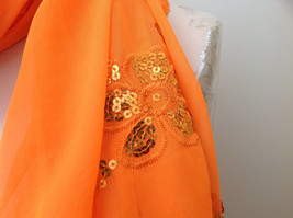 Neon Orange Sheer Scarf with Sequin Designs and Tassels Length 68 Inches image 4