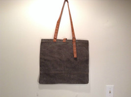 New MAD Style Shoulder Bag Tote Khaki with Brown Straps 100% Recycled Cotton image 3