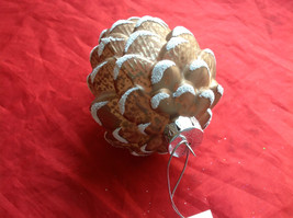 New Melrose Glass Pinecone Ornament Snow on Tips -  4 Inches High Brown Lt or Dk image 5