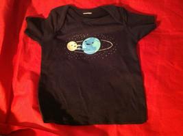 New Kids Threadless Short Sleeve Blue Shirt World & Moon Size 18 Months image 2