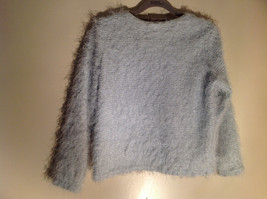 New Moves Light Blue Long Sleeve Short Fuzzy Stretchy Sweater Size Large Plus image 2