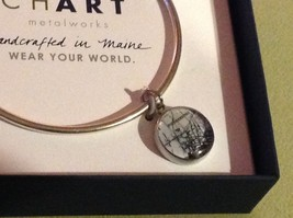 New Pewter hand made bangle bracelet Poughkeepsie vintage map round charm image 2
