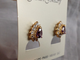 New Pretty Gold Tone Purple White Stone Drop Shaped Stud Earrings image 4