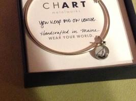 New Pewter hand made bangle bracelet You Keep me on Course Sailboat round charm image 2