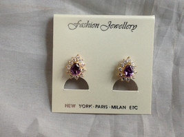 New Pretty Gold Tone Purple White Stone Drop Shaped Stud Earrings image 9