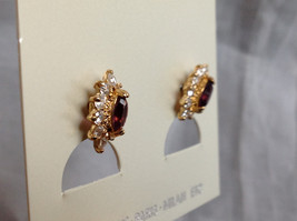 New Pretty Gold Tone Purple White Stone Stud Earrings image 3